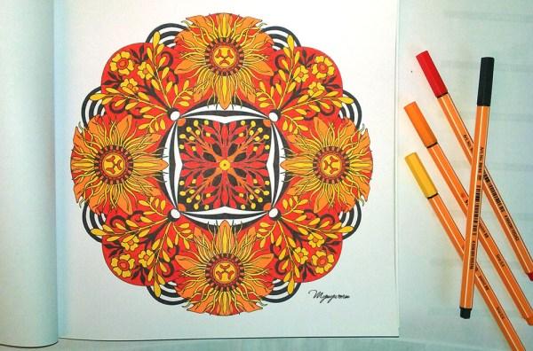 mandalas fleuris exemple feutres