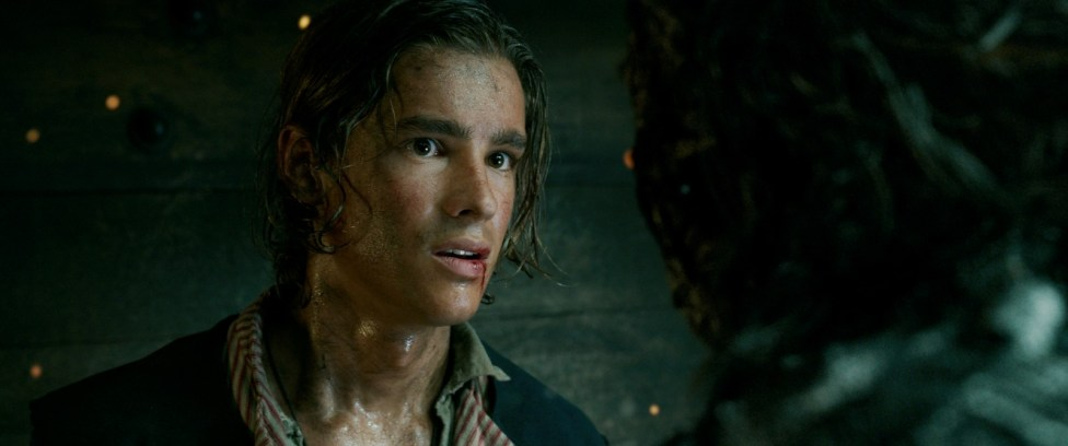 """""""PIRATES OF THE CARIBBEAN: DEAD MEN TELL NO TALES""""..The villainous Captain Salazar (Javier Bardem) pursues Jack Sparrow (Johnny Depp) as he searches for the trident used by Poseidon...©Disney Enterprises, Inc. All Rights Reserved."""