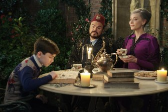 (L to R) OWEN VACCARO, JACK BLACK, and CATE BLANCHETT star in The House with a Clock in Its Walls, from Amblin Entertainment. The magical adventure tells the spine-tingling tale of 10-year-old Lewis (Vaccaro) who goes to live with his uncle (Black) in a creaky old house with a mysterious tick-tocking heart. But his new town's sleepy façade jolts to life with a secret world of warlocks and witches when Lewis accidentally awakens the dead.