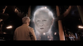 Aziraphale (MICHAEL SHEEN) & The Metatron (DEREK JACOBI)