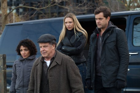"FRINGE: Astrid (Jasika Nicole, L), Walter (John Noble, C), Olivia (Anna Torv, second from R) and Peter (Josh Jackson, R) prepare for a mission in the all-new ""Liberty,"" Part One of the 100th episode and special two-hour series finale of FRINGE airing Friday, Jan. 18 (8:00-9:00 PM ET/PT) on FOX. ©2012 Fox Broadcasting Co. CR: Liane Hentscher/FOX"
