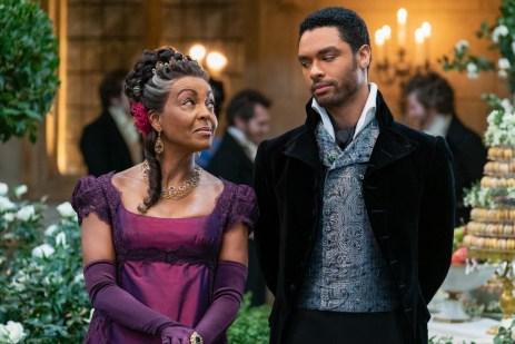 BRIDGERTON (L to R) ADJOA ANDOH as LADY DANBURY and REGƒ-JEAN PAGE as SIMON BASSET in episode 108 of BRIDGERTON Cr. LIAM DANIEL/NETFLIX © 2020