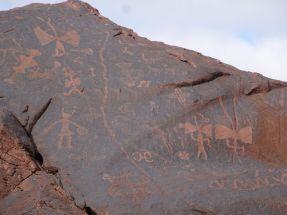 PN Talampaya / Pétroglyphes à l'entrée du canyon