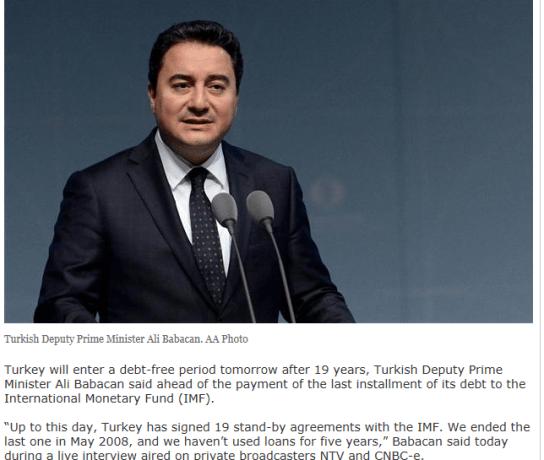 Turkey debt Free