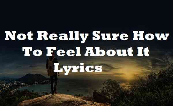 Not Really Sure How To Feel About It Lyrics