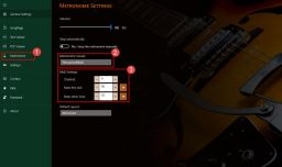 SongRepertoire - metronome midi settings