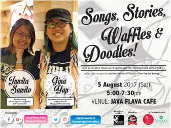 5 August 2017: Songs, Stories, Waffles & Doodles event at Java Flava Cafe, Kuantan