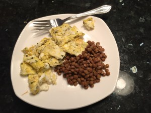A good breakfast of eggs and lentils.