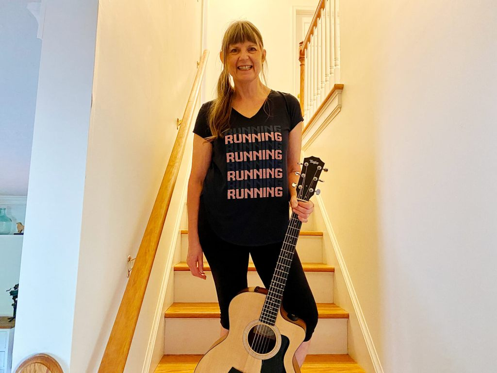 """Josephine Mary Schmidt wearing a tee with """"running"""" on it"""