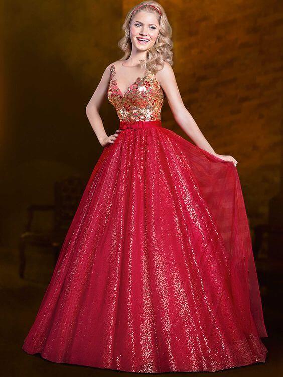 vestidos-longos-de-15-anos-vermelho-com-dourado