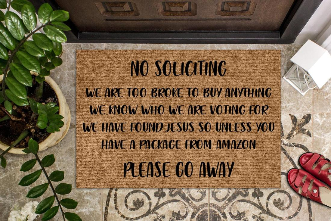 No Soliciting Funny Welcome Mat and Sassy Doormat