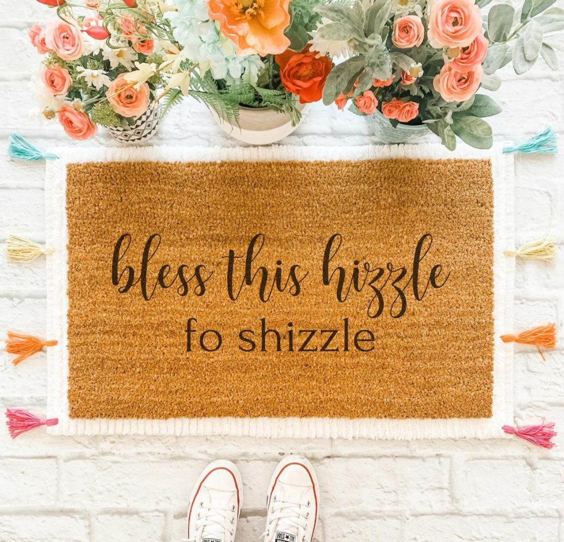 Bless This Hizzle For Shizzle Funny Welcome Mat Doormat