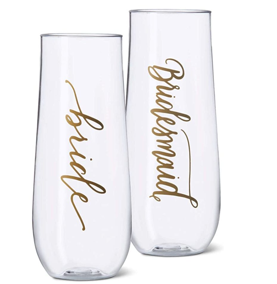 DIY Bridesmaid Proposal Champagne Glasses