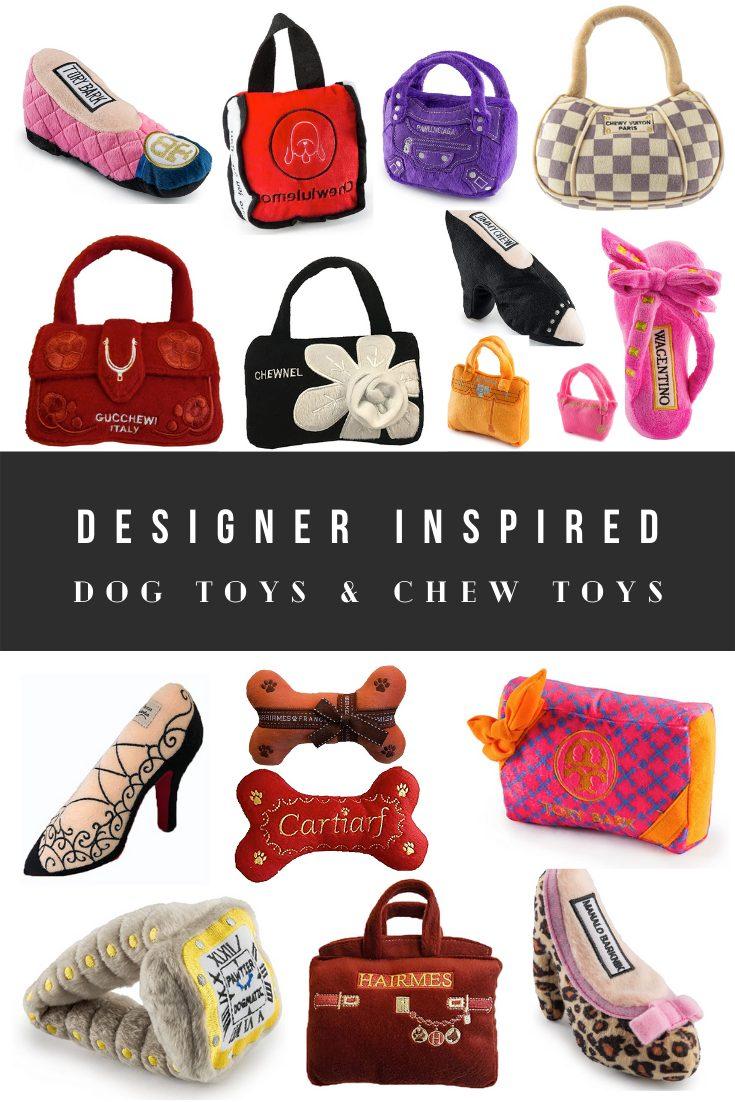 Luxury Designer Dog Toy Dupes - Handbag Dog Toys and Shoe Chew Toys