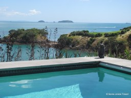 Stunning pool and views across Waiheke from a luxury villa