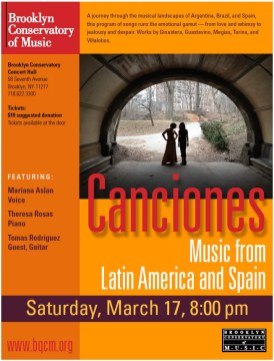 2012'III'17. Brooklyn Conservatory of Music (Nueva York). 'Procesión' por Mariana Aslan y Theresa Rosas - cartel