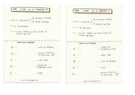 2012'I. 'The Time in a Thread'. Dos de las cinco tarjetas de instrucciones