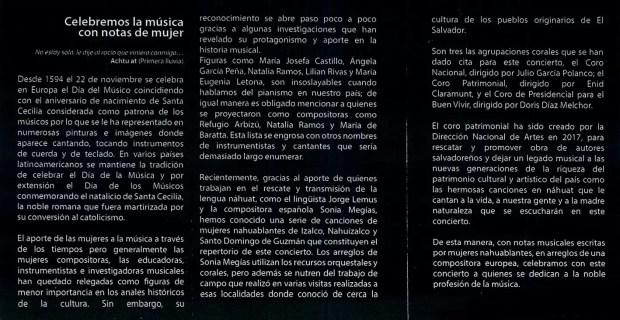 2017'XI'22. San Salvador. Concierto con mis arreglos por Santa Cecilia - notas al programa