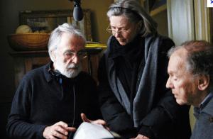 Haneke con los protagonistas