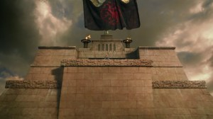 La bandera de los Targaryen ondeando sobre Meereen