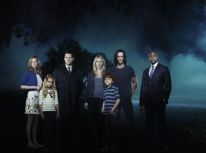 """THE WHISPERS - ABC's """"The Whispers"""" star Lily Rabe as Claire Bennigan, Barry Sloane as Wes Lawrence, Milo Ventimiglia as John Doe/Drew Bennigan, Derek Webster as Jessup Rollins, Kristen Connolly as Lena Lawrence, Kylie Rogers as Minx Lawrence, and Kyle Harrison Breitkopf as Henry Bennigan. (ABC/Bob D'Amico)"""