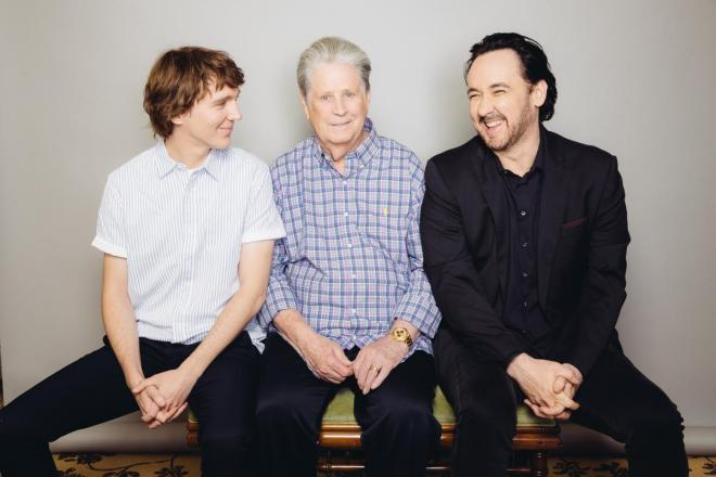 Paul Dano, Brian Wilson, and John Cusack pose for a portrait during press day for