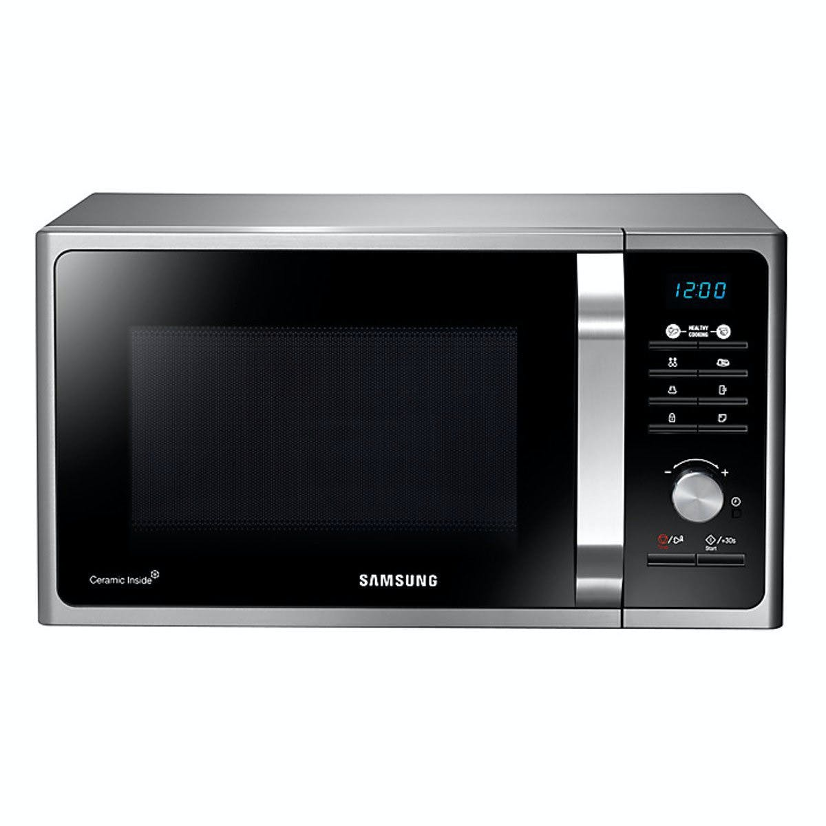 samsung ms23f301tas compact microwave oven in silver tact 23l 800w