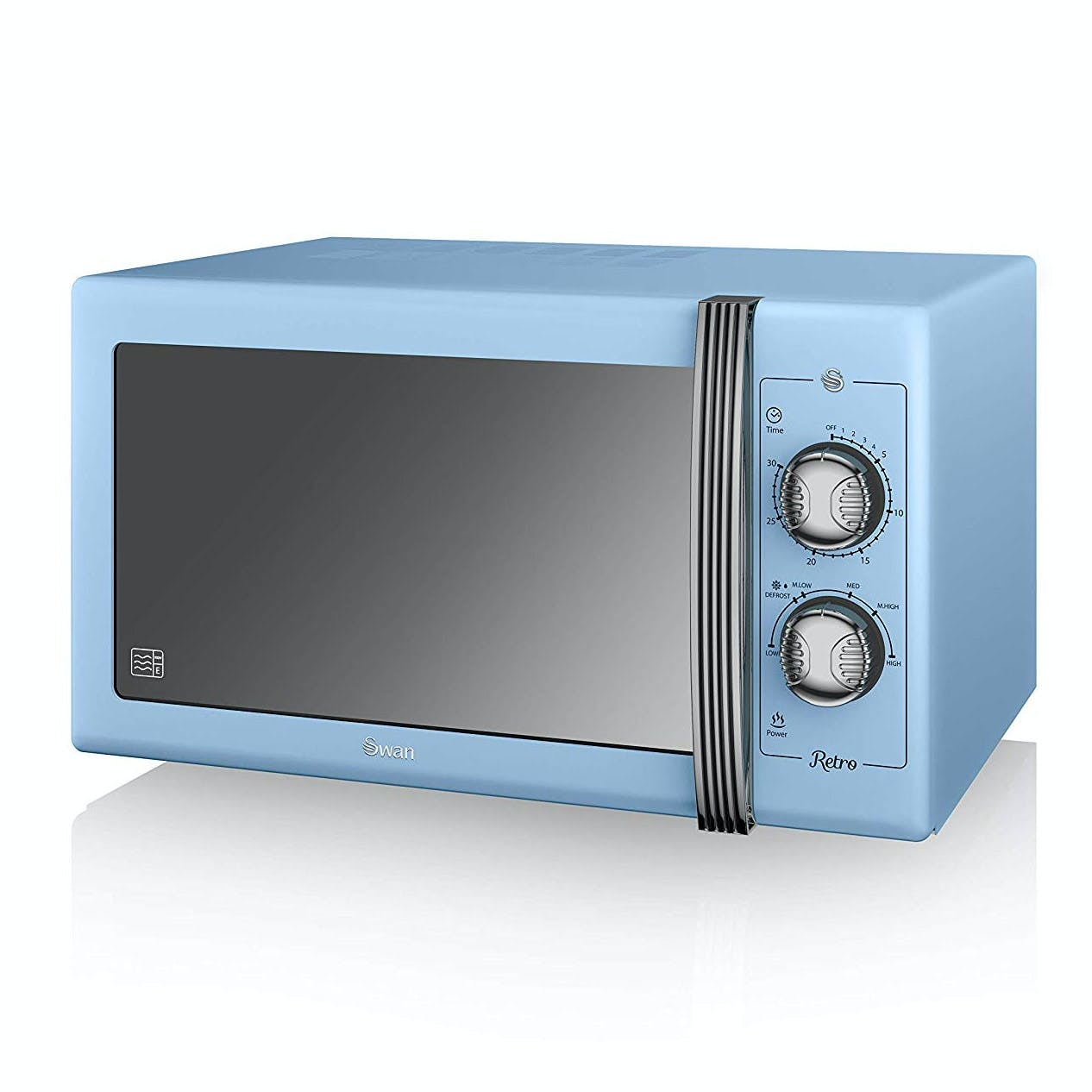 swan sm22070bln retro style microwave oven in blue 25 litre 900w