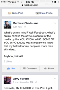 """An actual status update that Matt absolutely posted under his own volition, completely (""""Life's a Gift"""" special show, May 2015)."""
