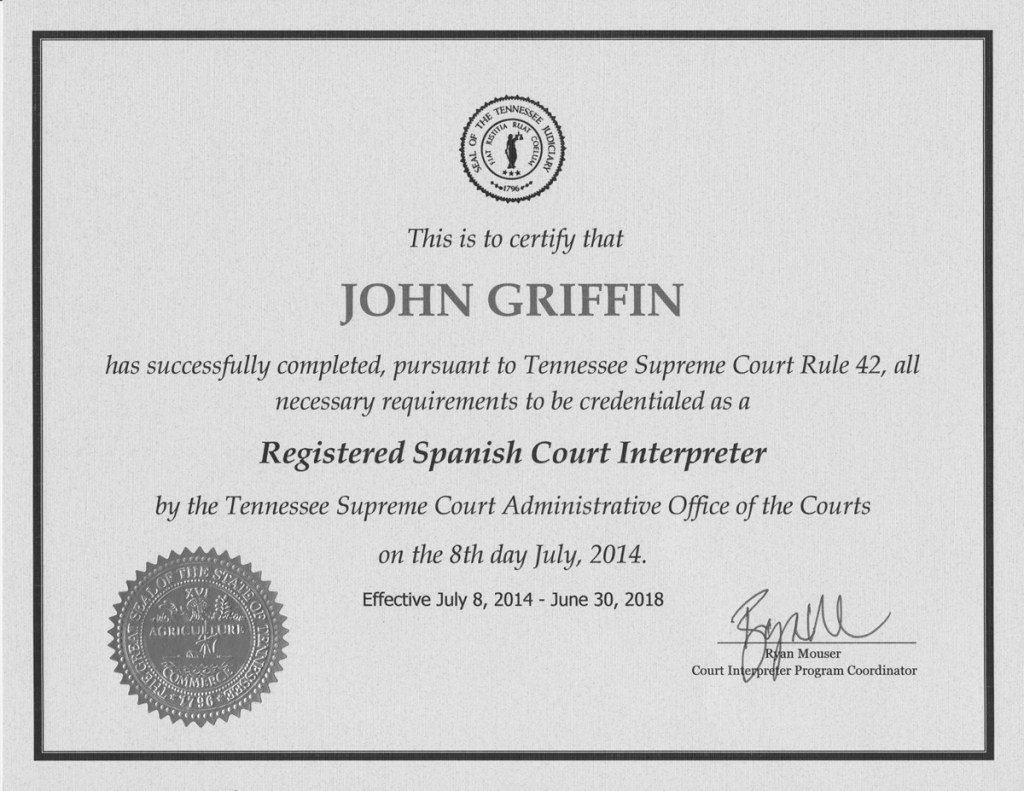 Spanish Court Interpreter Certificate Copy