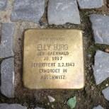 Street memorial to Holocaust victim Elly Burg, who was murdered in Auschwitz