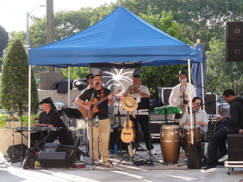 Sonido-Costeno-Latin-BandSonido Costeno, Brooklyn Public Library and the outdoor music series-under-tent-BPL-outdoor-music-series