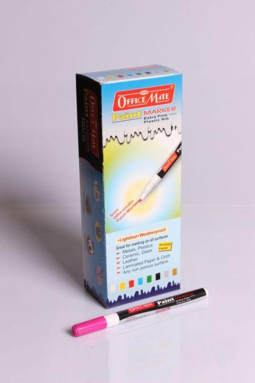 Soni Office Mate - Paint Marker Slim, Golden (Plastic Nib) in Pack of 10pcs 2