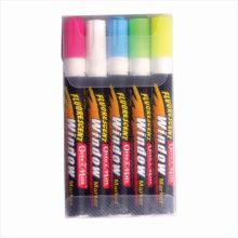 Soni Office Mate - Fluorescent Window Marker, Pack of 5 Pcs in PP box