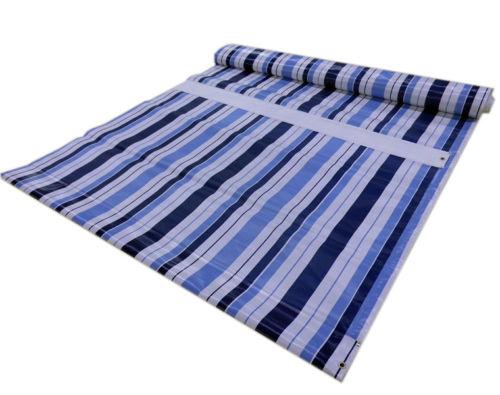 PVC Windschutz Blau-Weiß-gestreift
