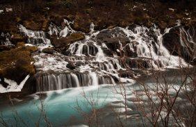 lava waterfalls, Wasserfall, time exposure, Hvita