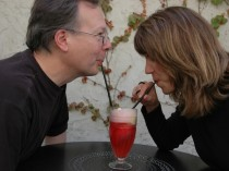 Carrie and Ron sharing an ice cream soda