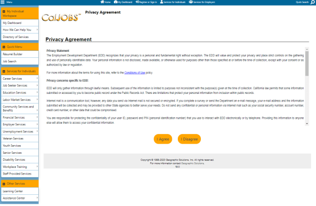 screenshot of the CalJOBS privacy agreement screen