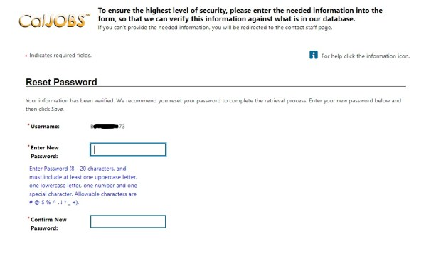 screenshot of page that allows you to create a new password