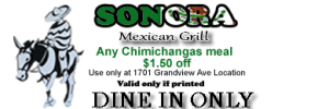 Any Chimichangas meal 1.50 off