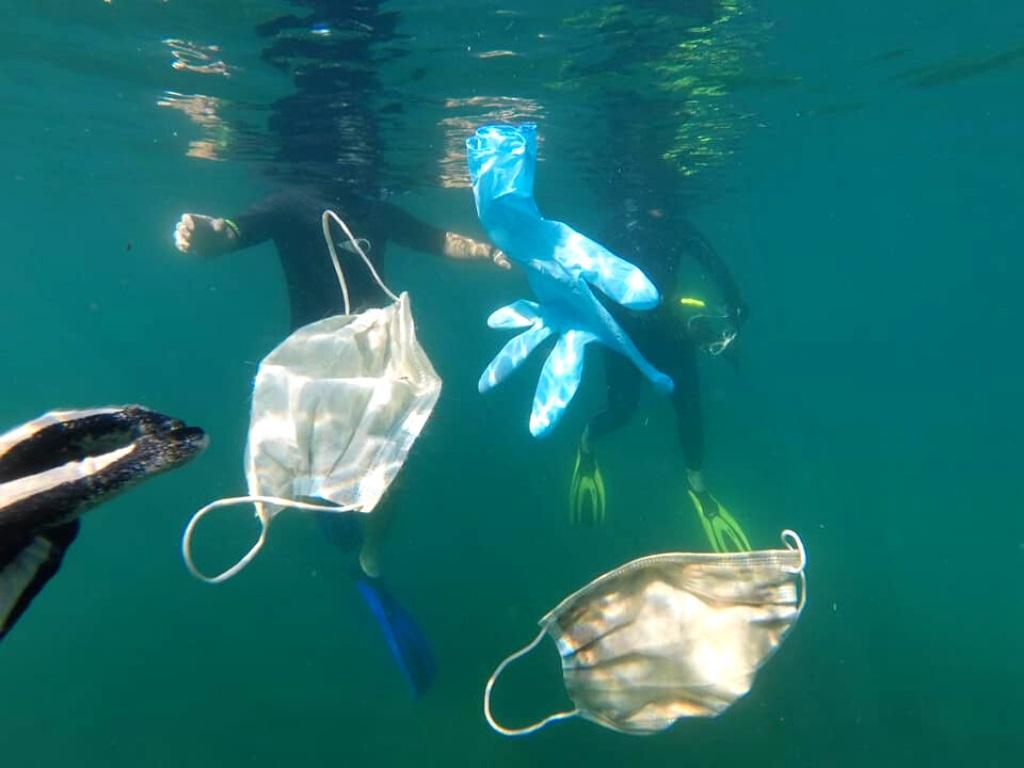 cubrebocas en el mar