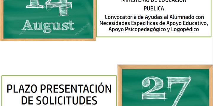 Convocatoria ayudas de apoyo educativo, psicopedagógico y logopédico