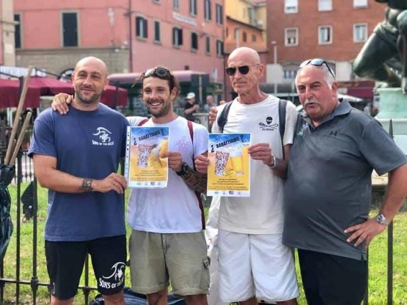 da sx a dx : Matteo Capo Nani ( Sons of the ocean ), Simone Guerrieri ( i pirati della plastica ), Sergio Giovannini ( Acchiapparifiuti ) e Giuseppe Pera ( Reset Livorno )