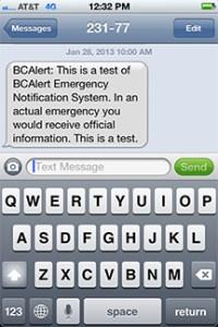 BCAlert Text Message