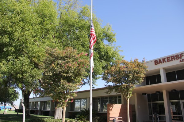 Flag at half staff on the BC campus