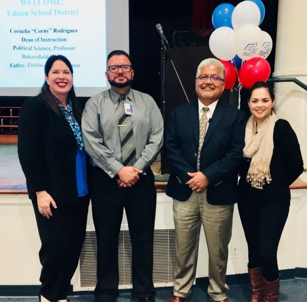 Erica Andrews Superintendent, Robert Arreola Trustee (BC Alumni), Corny Rodriguez, Isabel Castaneda Trustee (BC Alumni)