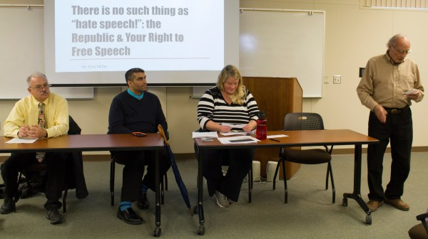 left to right: Communication professor John Giertz, Director of Student Life Nicky Damania, History professor Erin Miller, and Levan Center Director Jack Hernandez host a panel discussion about free speech on college campuses on March 21st.