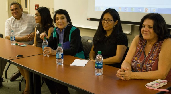 left to right: Emilio Huerta, Juanita Chavez, Dolores Huerta, Camila Chavez and Lori de Leon
