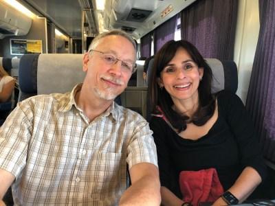 Nick Strobel and Sonya Christian on train