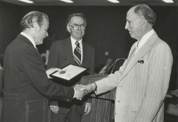 1980 - Photo of Cecil Bailey, John Collins, and retiree William Walker